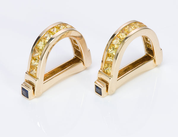 Yellow Blue Sapphire Gold Stirrup Cufflinks