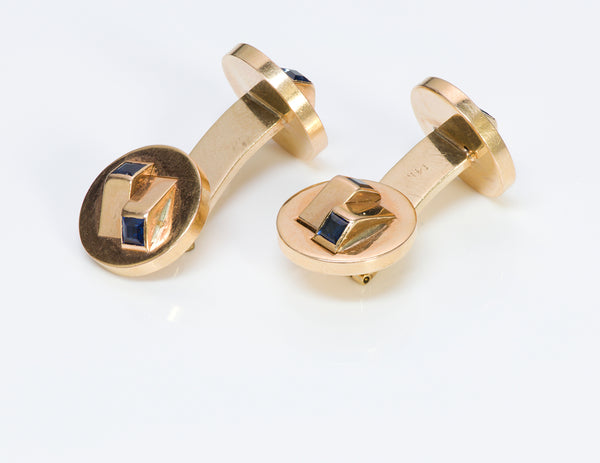 Cufflinks Gold Sapphire Double Sided Cufflinks