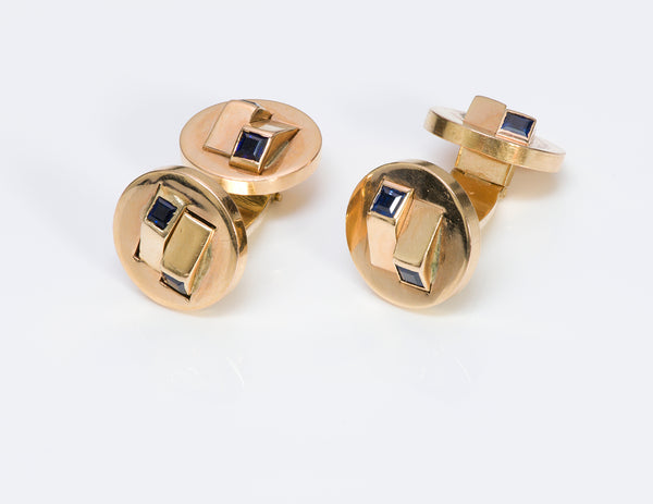 Vintage Gold Sapphire Double Sided Cufflinks