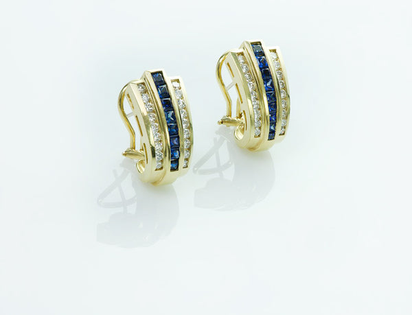 Diamond Sapphire Gold Earrings