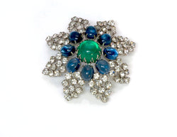 Arnold Scaasi Couture Faux Emerald Sapphire Glass Brooch