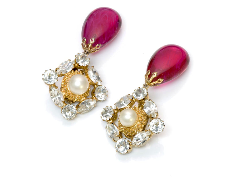 Arnold Scaasi Couture Crystal Glass Earrings