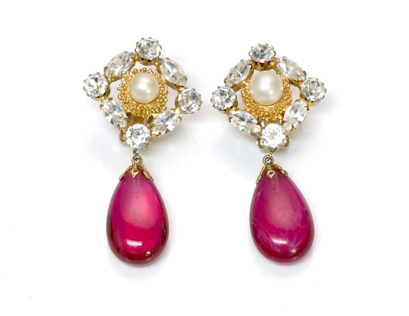 Arnold Scaasi Couture Crystal Pink Glass Earrings