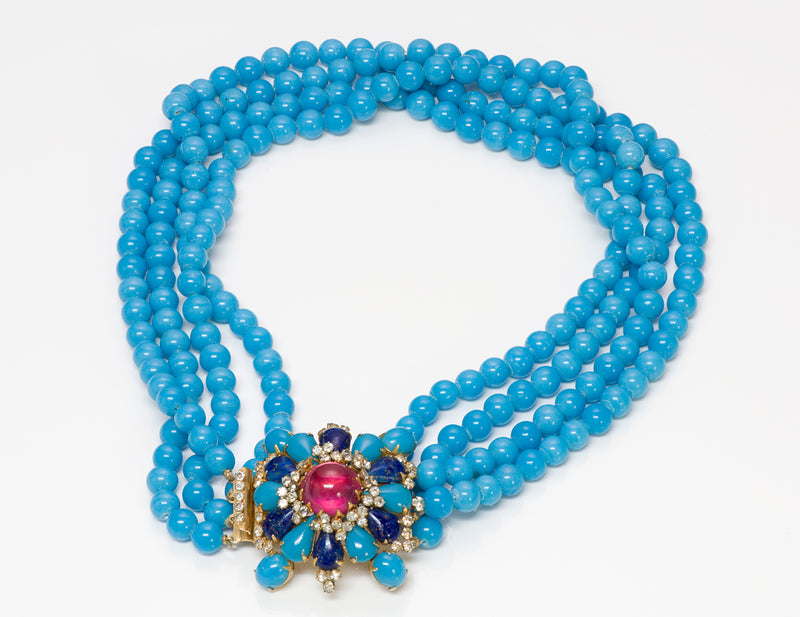 Arnold Scaasi Couture Blue Glass Beads Necklace 3
