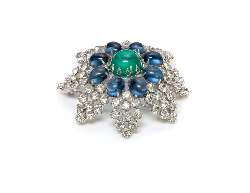 Arnold Scaasi Couture Faux Emerald Sapphire Glass Brooch 1