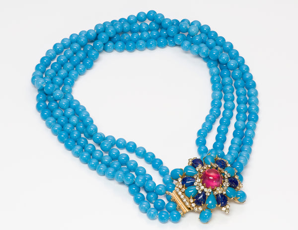 Arnold Scaasi Couture Blue Glass Beads Necklace