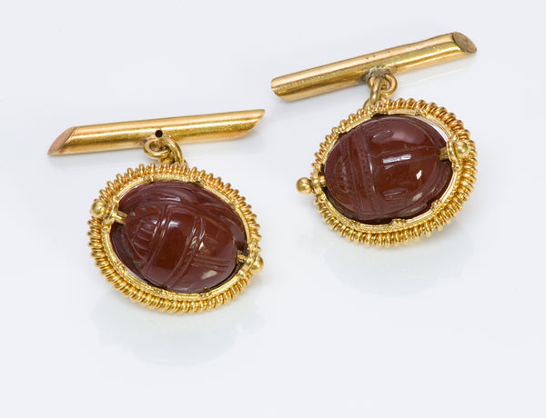 Antique Carnelian Scarab Gold Cufflinks