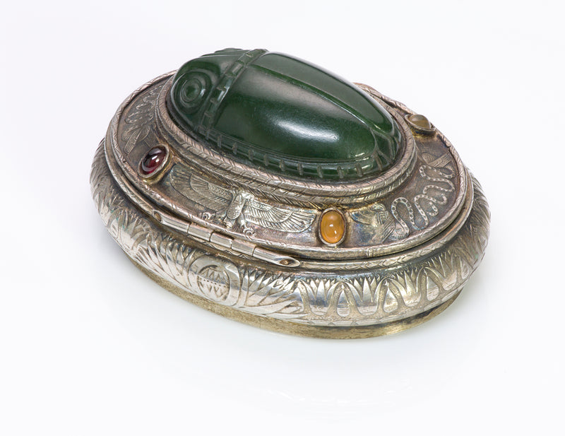 Egyptian Revival Silver Jade Scarab Box 1