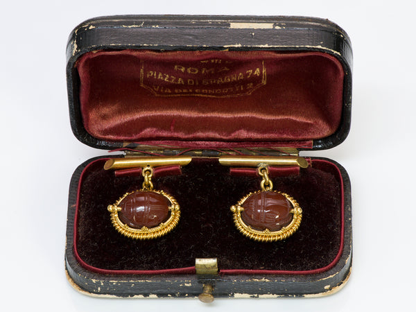 Antique Carnelian Scarab Cufflinks
