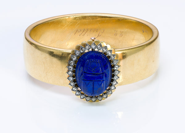 Antique Victorian Egyptian Revival Lapis Diamond Gold Bangle Bracelet