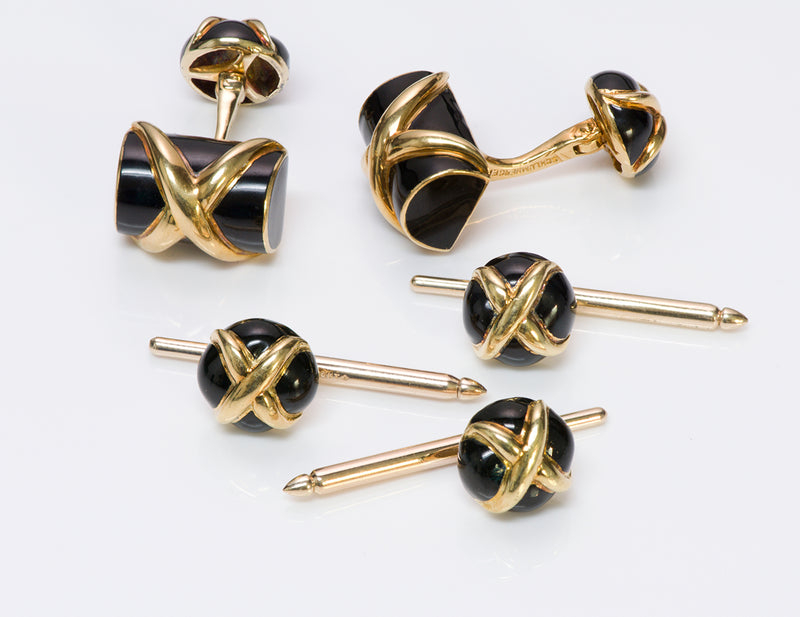 Schlumberger Tiffany & Co. Enamel Cufflinks Stud Set