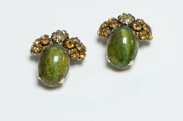 Schreiner New York 1950's Green Glass Earrings