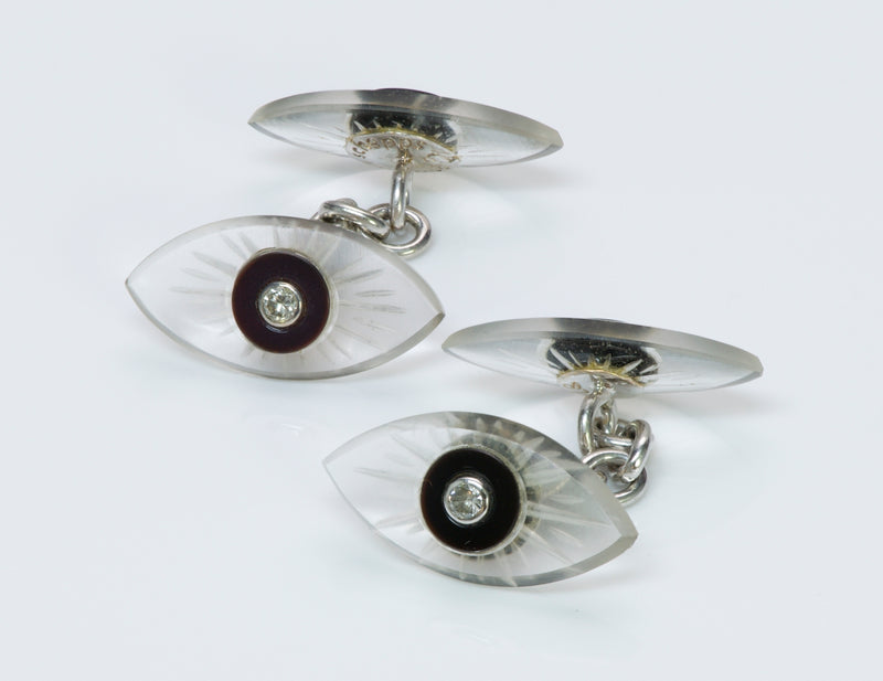Seaman Schepps Gold Diamond Onyx Crystal Cufflinks