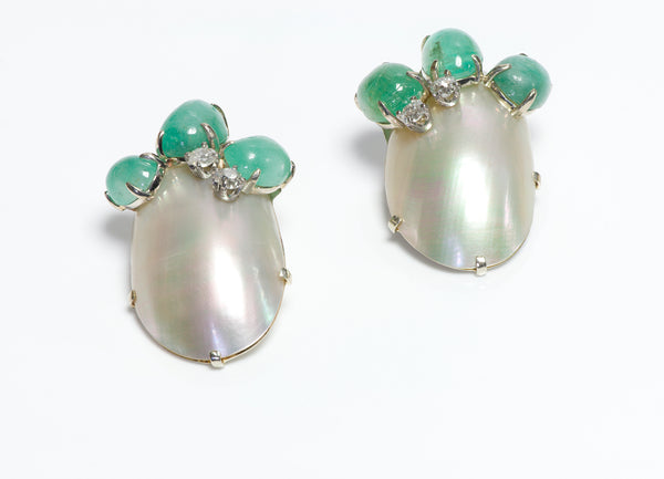 Seaman Schepps Gold Emerald Diamond Shell Earrings