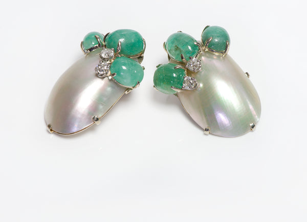 Seaman Schepps Emerald Diamond Shell Earrings