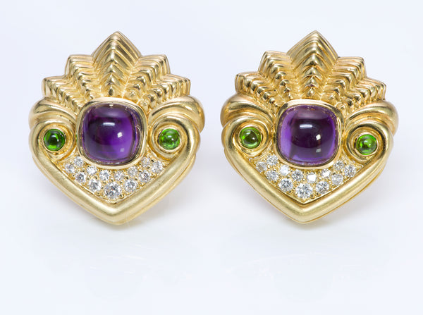SeidenGang Amethyst 18K Gold Diamond Earrings