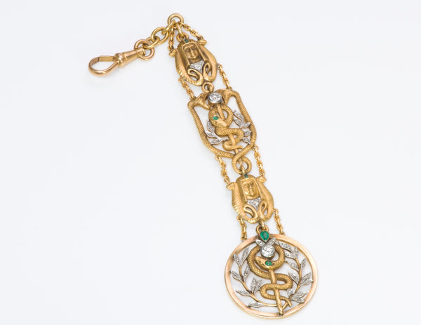 Diamond Art Nouveau Egyptian Revival Gold Watch Fob