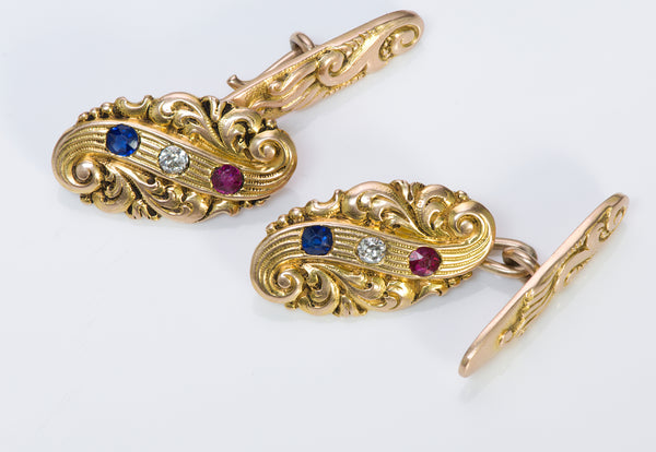 Shreve & Co. Antique Gold Ruby Diamond Sapphire Cufflinks 2