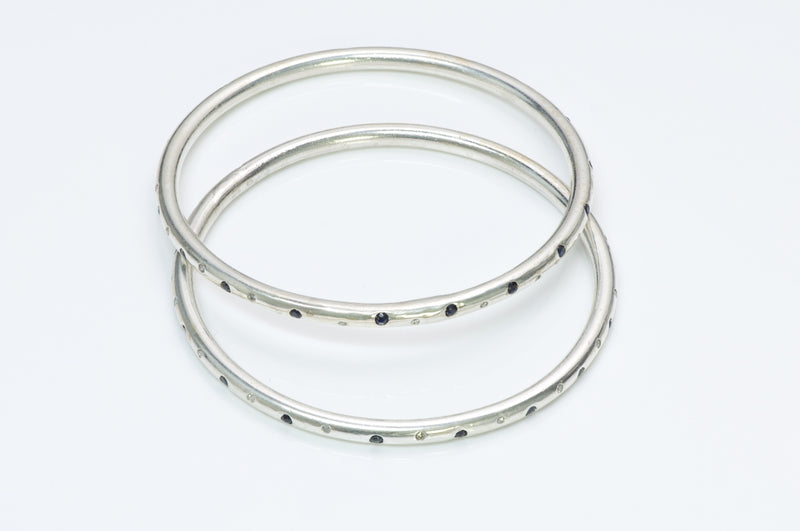 Black White Diamond Silver Bangle Pair