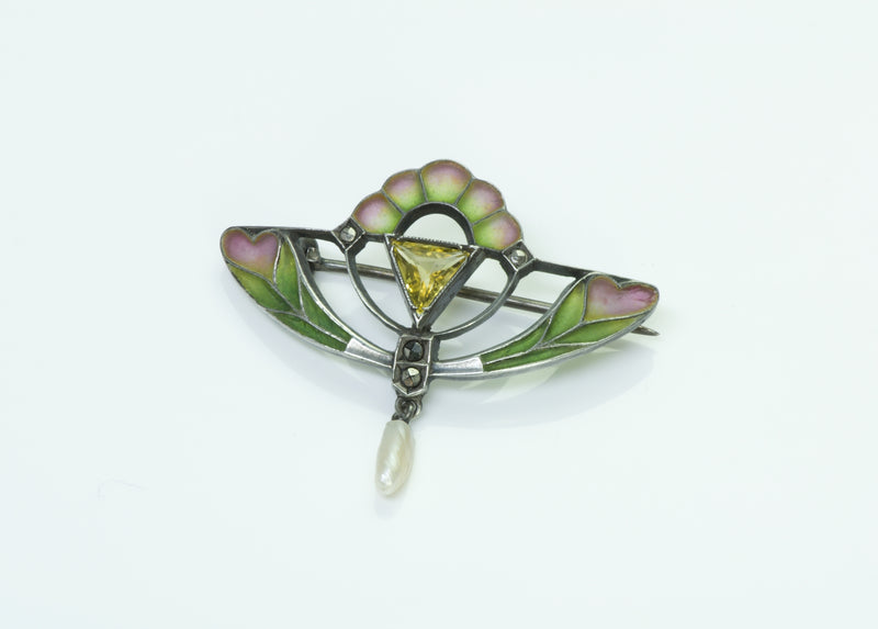 Plique A Jour Vintage Silver Brooch With Natural Pearl