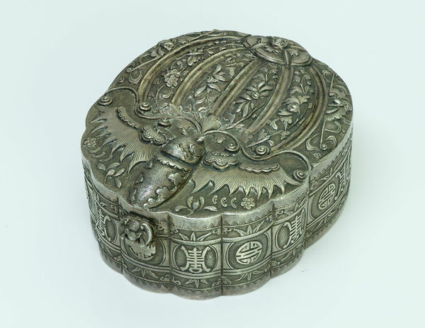 Antique Chinese Moth Silver Box