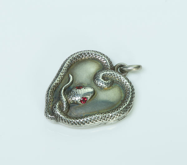 Antique Sterling Silver Snake Locket