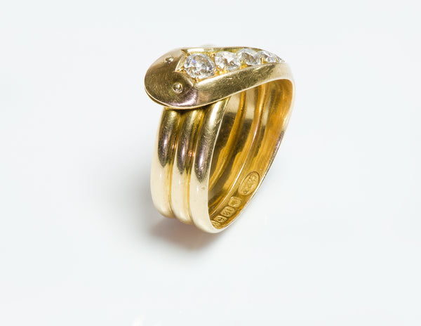 Victorian 18K Y Gold Diamond Snake Ring