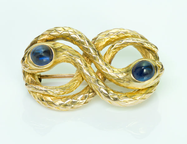 Antique Snake Gold & Cabochon Sapphire Pin/Brooch