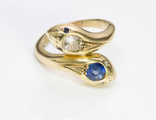 Antique Diamond Sapphire & Gold Snake Ring