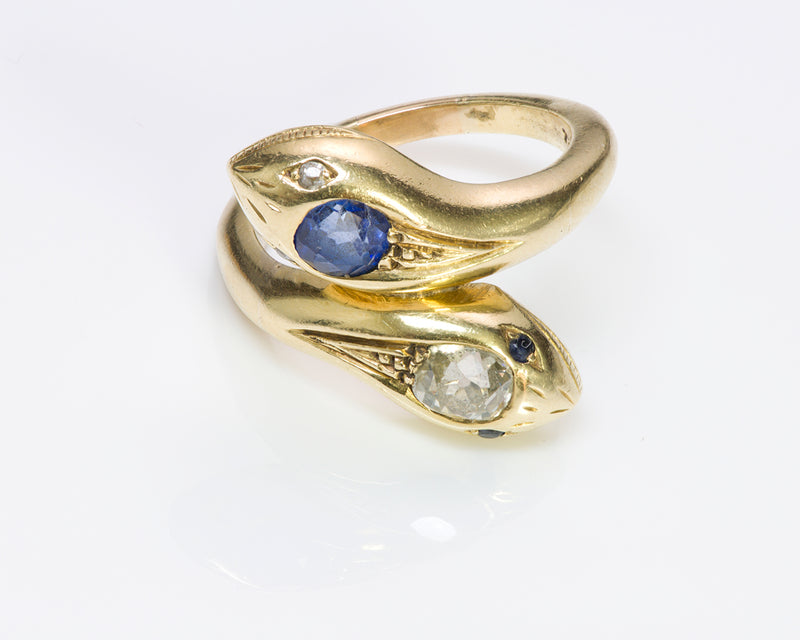 Antique Diamond Sapphire Gold Snake Bypass Ring