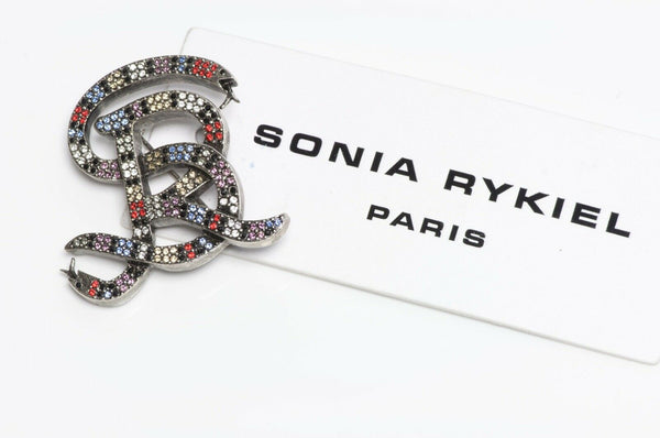 Sonia Rykiel Paris Multicolor Crystal Snake Logo Brooch