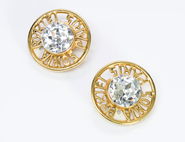 Sonia Rykiel Paris Gold Tone Crystal Earrings1