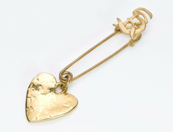 Sonia Rykiel Paris Gold Plated Heart Safety Pin Brooch
