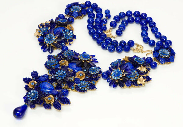 Stanley Hagler Cobalt Blue Glass Beaded Flower Crystal Necklace