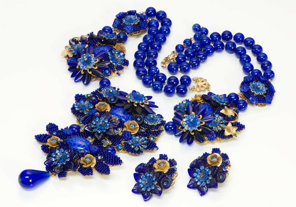 Stanley Hagler Cobalt Blue Glass Beaded Flower Crystal Necklace Earrings
