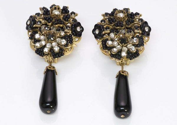 Stanley Hagler Beaded Glass Crystal Flower Drop Earrings