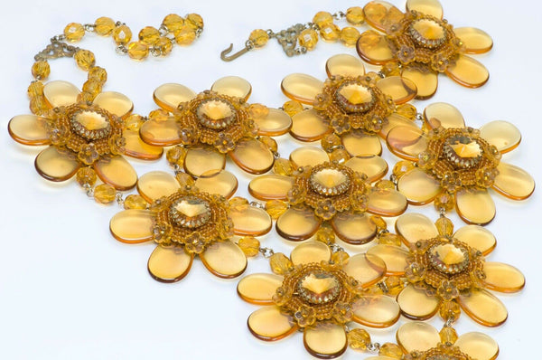 Stanley Hagler NYC Long Yellow Beaded Flower Glass Crystal Bib Necklace
