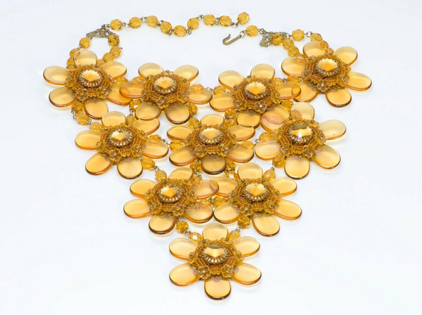 Stanley Hagler NYC Beaded Flower Glass Crystal Bib Necklace