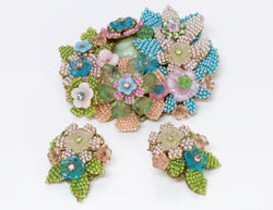 Stanley Hagler NYC Flower Brooch Earrings Set