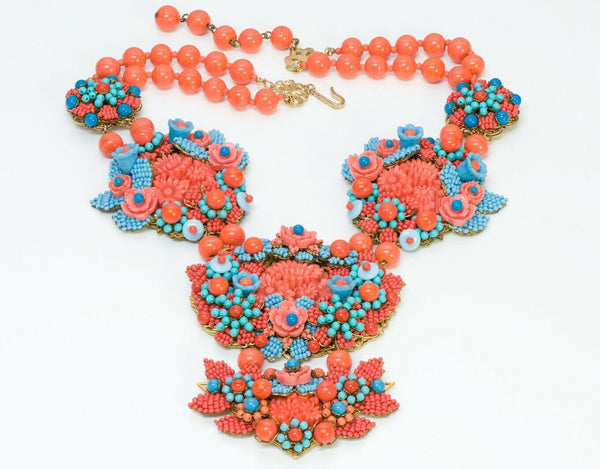 Stanley Hagler NYC Orange Blue Glass Beads Flower Necklace