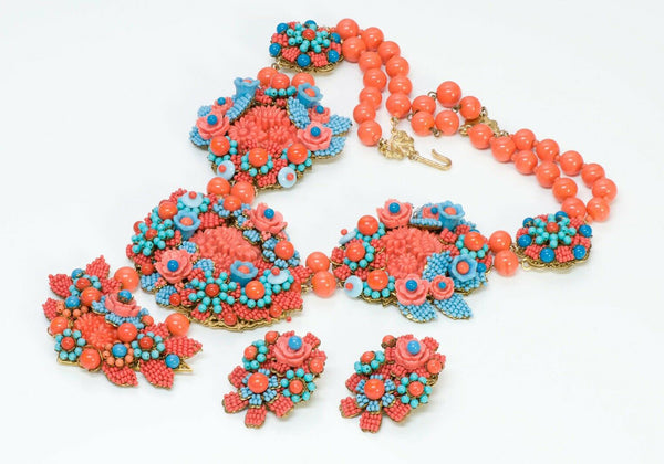 Stanley Hagler NYC Orange Blue Glass Beads Flower Necklace Earrings Set