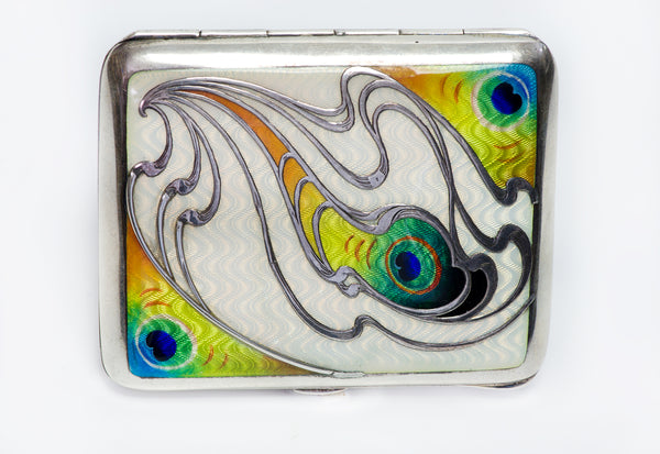 Antique Enamel Peacock Pattern Cigarette Case