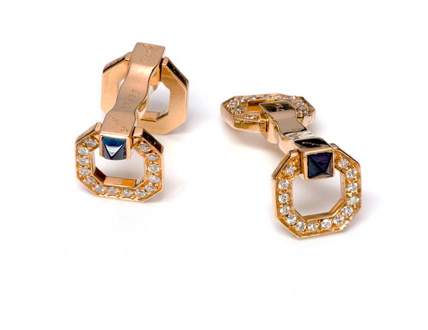 Cartier Stirrup Diamond Sapphire Gold Cufflinks