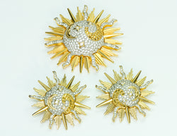 Swarovski Sun Moon Crystal Earrings Brooch Set