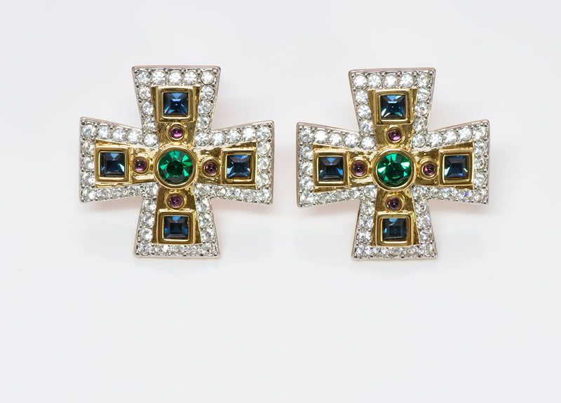 Swarovski Maltese Cross Blue Green Crystal Earrings1