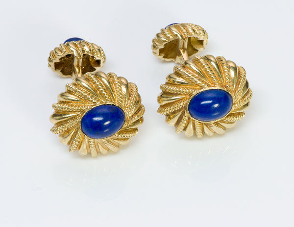 Tiffany Co Schlumberger 18K Gold Lapis Cufflinks