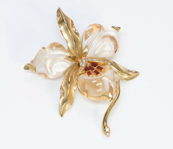 TRIFARI 1944 Alfred Philippe Jelly Belly Orchid Flower Brooch