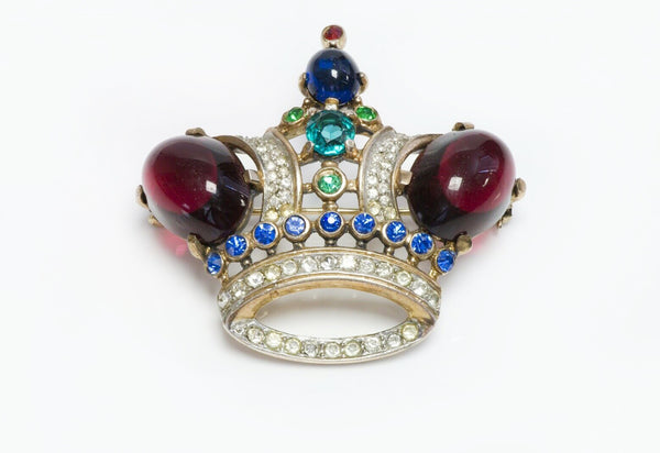 TRIFARI  Alfred Philippe Sterling Red Blue Glass Jelly Belly Crown Brooch