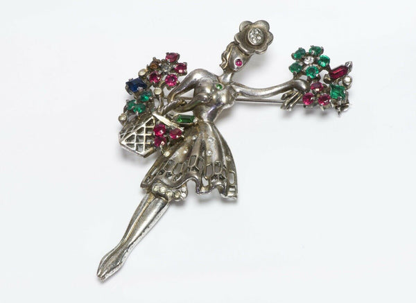 "TRIFARI 1947 Alfred Philippe ""Flower Seller"" Sterling Red Green Crystal Brooch"