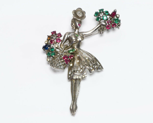 TRIFARI Alfred Philippe Flower Seller Sterling Brooch